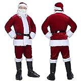 Christmas Velvet Adult Santa Suit Mens Deluxe Santa Claus Costume with Beard Wine Red