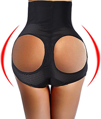 fashion environmental three in one magic boy shorts butt lifter open booty enhancer tummy control body shaper long lingerie underwear briefs for woman sexy bigger butt evening wear (XL, Black)