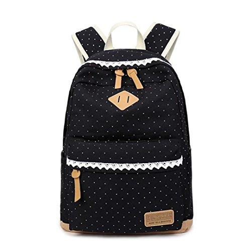 Tomato eggs Canvas Backpack Vintage Polka Dot Sweet Lace Women's and Girl's Backpack School Bag Travel Bag - black
