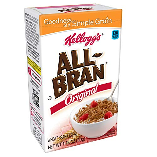 (Kellogg's All-Bran, Breakfast Cereal, Original Wheat Bran, Excellent Source of Fiber, Single Serve, 1.76 oz Box(Pack of 70))