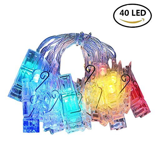 LED Photo Clips String Lights - 40 Photo Clips for Hanging Photos Cards Artwork for Indoor/Outdoor Bedroom Patio Parties Wedding Indoor Outdoor Marriage proposal Dorm Room(Rainbow) (Rainbow [40 LED])