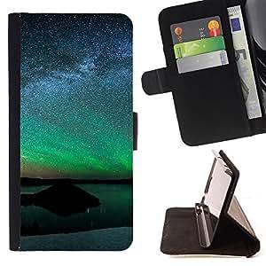 - Aurora Landscape - - Prima caja de la PU billetera de cuero con ranuras para tarjetas, efectivo desmontable correa para l Funny HouseFOR HTC One M9