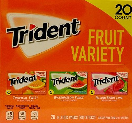 Trident Sugar Free Gum Fruit Variety Total 280 Sticks (20 Packs -14 Sticks) (Fruit Sticks Variety Pack)