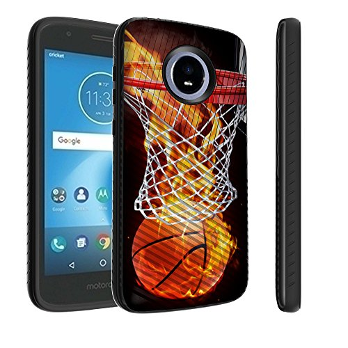 Hoop Diagonal (Untouchble Case for Motorola Moto E5 Cruise, Moto E5 Play Case [Stripe Force] Combat Shockproof Two Layer Flexible TPU Bumper Cover - Basketball Fire)