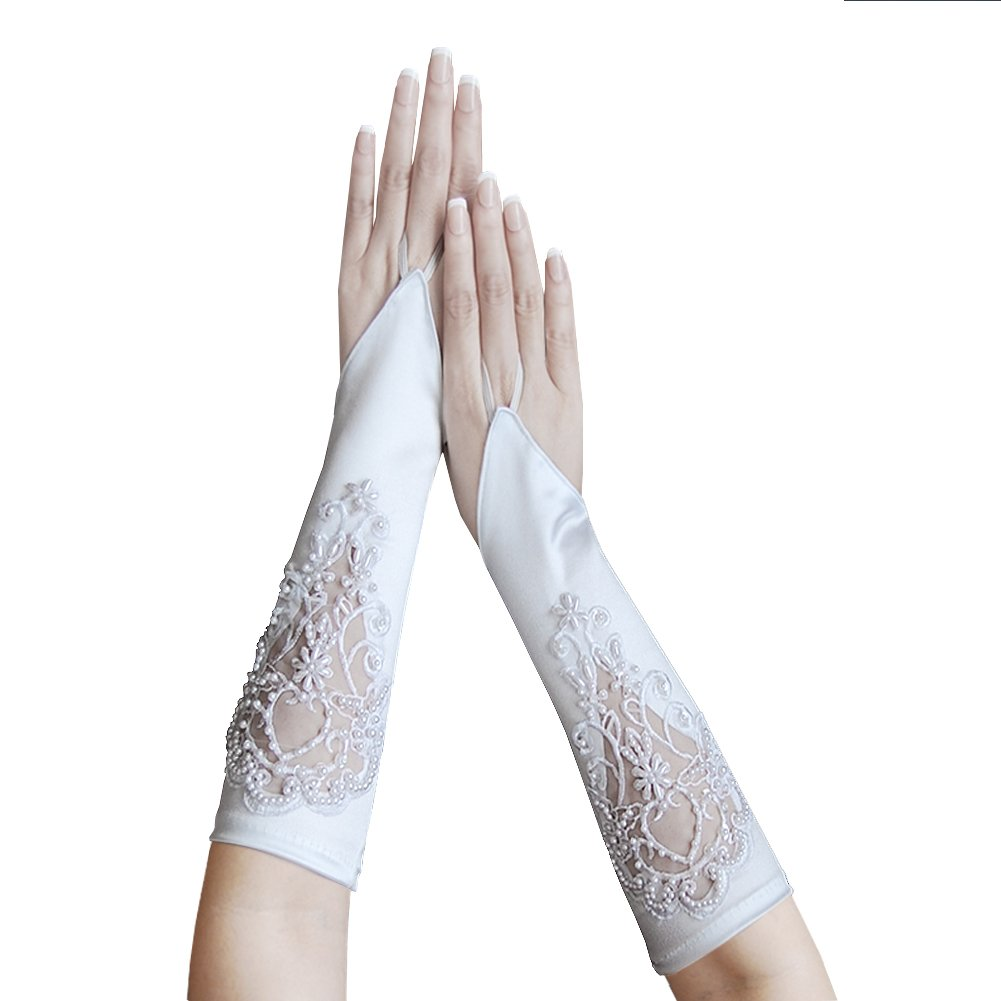 ZaZa Bridal Satin Fingerless Gloves w/Floral Embroidery Lace, Sequins & Pearls-White