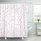 Pink and Purple Polka Dot Shower Curtain Emvency Shower Curtain Set Waterproof Adjustable Polyester Fabric Colorful Polka Pink Triangle Polygon Purple Abstract Candy Color Dot Dotted Fun 60 x 72 Inches Set with Hooks for Bathroom