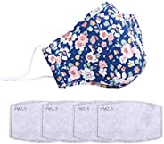 Fashionable,Reusable, Washable Facial Cotton Covering for Women- Includes 4Pcs Filters (Blue)