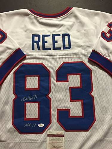 Autographed/Signed Andre Reed 'HOF 14' Buffalo Bills White Football Jersey JSA COA