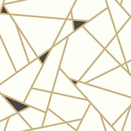 York Wallcoverings RY2702 Risky Business Geometric Removable Wallpaper Gold White