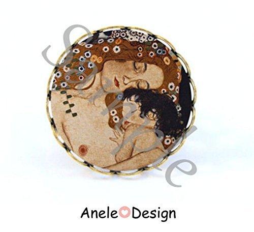 Bague Klimt amour marron noir mè re et enfant tableau amour maternel art nouveau romantique