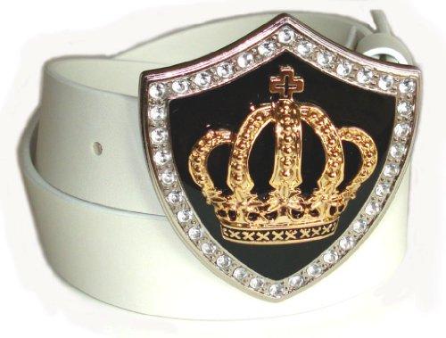 BeltsandStuds Man Women White snap on belt with Gold Crown buckle M 34 White (Crown Belt Buckle)