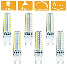 4W G9 LED 400 Lumen, No Flicker, Equivalent to 40w Halogen Bulbs, Dimmable, Warm White 2700K, AC120V, 360 Degree Beam Angle,G9 Base Halogen bulb for Sconce,Puck Light,Night light (Pack of 6)