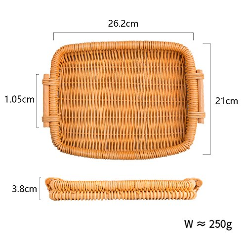Woven Bread Roll Baskets Food Tabletop Serving Baskets Fruit Basket Bread Tray Rattan & Wicker Basket Tabletop Serving /Diplay/Storage/Picnic Baskets,Restaurant Serving,Willow Basket (Rectangle)