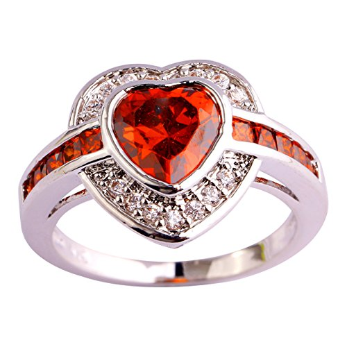 Plated Created Diamond Hearts Ring - Emsione 925 Sterling Silver Plated Created Heart Garnet Halo Womens Ring