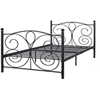 (US Stock) Black Metal Platform Bed Frame Twin Size for Boys Kids Adult Bedroom