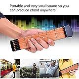 Ohuhu Wooden Pocket Guitar 6 Fret Portable Guitar Practice Tool Gadget For Beginner Chord Trainer