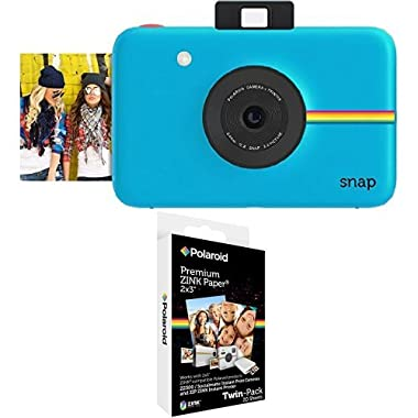 Polaroid Snap Instant Digital Camera (Blue) with Polaroid 2x3 inch Premium ZINK Photo Paper TWIN PACK (20 Sheets)