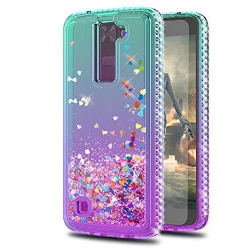 LG Tribute 5 Case,LG Escape 3/ LG Treasure/LG Phoenix 2 Cases with HD Screen Protector,KaiMai Glitter Moving Quicksand Clear Cute Shiny Phone Case for LG K7-Aqua/Purple