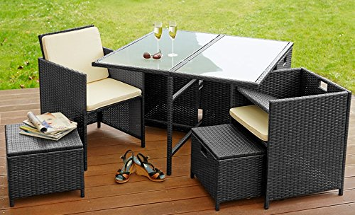poly rattan sitzgruppe sitzgarnitur gartenm bel garten 4 sessel 4 hocker tisch schwarz lagento. Black Bedroom Furniture Sets. Home Design Ideas