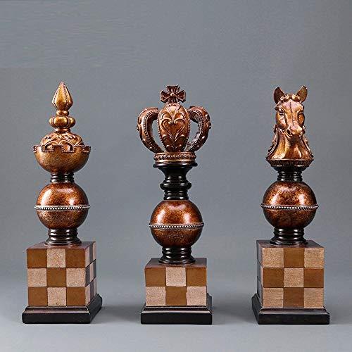 RIOS Adornos de artesanía de Resina Creativa Adornos de ajedrez Antiguos Europeos Conjunto de Tres Piezas Sala de Estar...