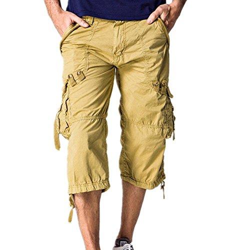 Long Shorts Capri Pants (Hzcx Fashion Mens washed cotton long capris multi-pockets casual cargo shorts SJXZ1800-5820-55-KHAKI-30)