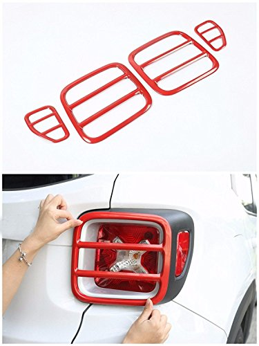 Jeep Renegade Tail Light Cover,Metal Taillights Lamp Protector Guard Cover Trim For Jeep Renegade 2015 2016 Set Of 4 (Red))