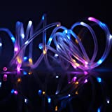 BINZET 5Meters 50leds Multicolor Solar String Lights PVC Tube Waterproof LED Rope Lights, Garden Patio Outdoor Solar String Lights for Christmas, Wedding, Party Decoration