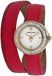 Michael Kors Mini Madison White Dial Pink Leather Ladies Watch MK2337