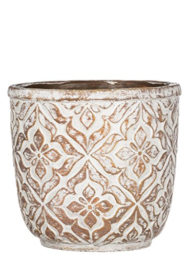 (Sullivans Patterned Round Cement Brown Garden Pot,7.25