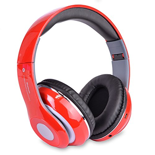 Altatac Bluetooth Rechargeable Over Ear Headset Foldable Wireless Wired Headphones with Memory Card Slot Built-in FM Tuner Microphone Audio Cable for Phone TV Computer MP3 Player - Red ()