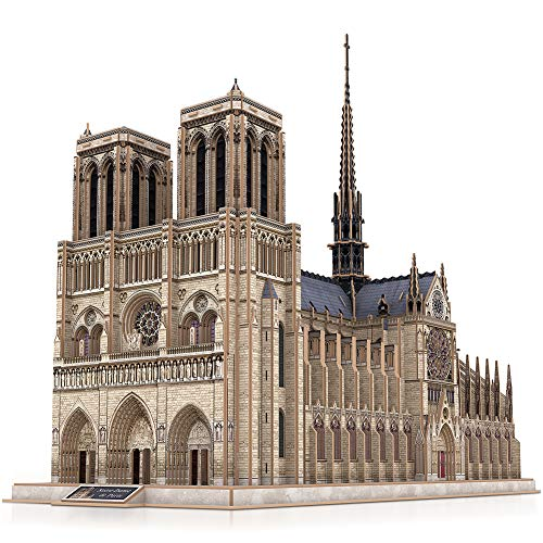 CubicFun 3D French Puzzles Large Cathedral Architecture Church Building Model Craft Kits Toys Interesting and Challenge for Adults as Hobbies Gifts, Notre Dame de Paris -