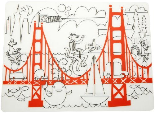 (modern-twist Waterproof Silicone Kids Washable Coloring Placemat, Mark-Mat, Fun on the Golden Gate )