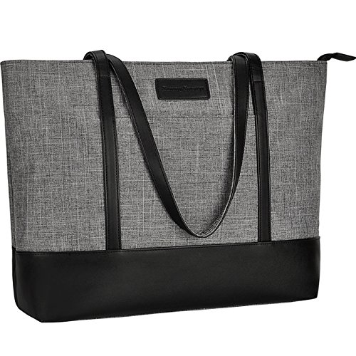 Laptop Tote Bag,Fits 15.6Inch Laptop,Womens Lightweight Water Resistant Nylon Tote Bag Shoulder Bag,Gray