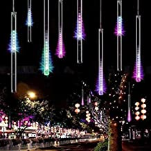 EShing Waterproof LED Falling Rain Lights with 30cm 11.8inch 8 Tube 144 LEDs, Meteor Shower Light, Falling Rain Drop Christmas Lights, Icicle String Lights for Party Wedding Garden House Decoration (Multi-color)