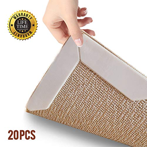 Relia-Grip 20 Piece Premium Rug Gripper Pads - Non Slip Renewable Tape Pad for Hardwood Floors, Carpets, Area Rugs and Mats. Anti Skid Grip Keeps Carpet and Mat Corners Flat to The Floor