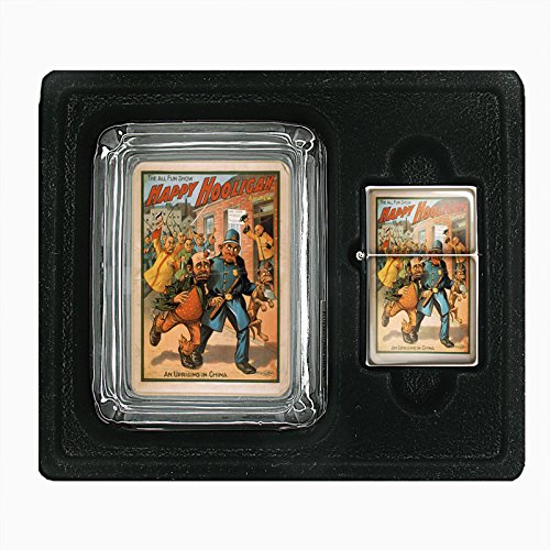 Glass Ashtray Oil Lighter Gift Set Vintage Poster D-108 The All Fun Show Happy Hooligan An Uprising In China