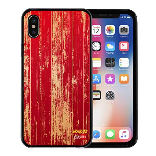 Semtomn Phone Case for Apple iPhone Xs case,Red Wood Wooden Brown Grain Vintage Old Pattern Organic for iPhone X Case,Rubber Border Protective Case,Black