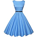 Lovesfay Vintage Dresses for Women Party Sleeveless Vintage Dress Tea Dress with Belt