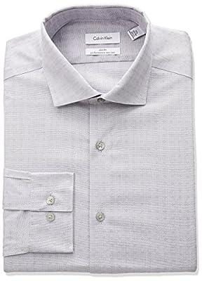 Calvin Klein Men's Non Iron Stretch Slim Fit Dobby Spread Collar Dress Shirt