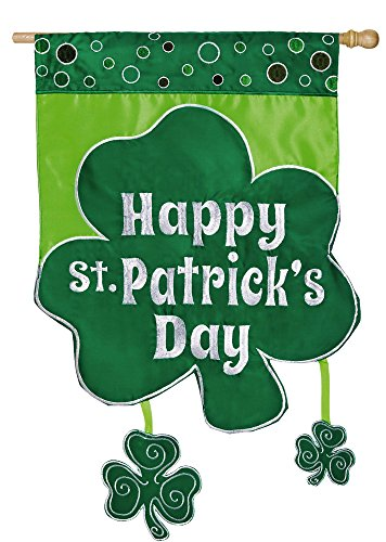 Evergreen Flag Shamrock St. Patrick's Day Applique House Flag, 28 x 44 inches ()