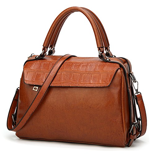 Handle Handbag (DALFR Women Top Handle Satchel Handbags PU Crossbody Bag Over Size Shoulder Messenger Bag Tote Bag Purse (Brown))