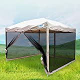 Quictent 10x10 Ez Pop up Canopy with Netting Gazebo Mesh Side Wall Screen House With Carry BAG Tan