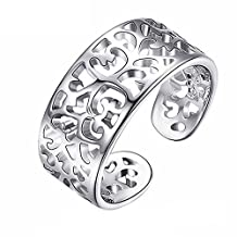 BODYA Small Toe Rings for Women Silver Plated Adjustable Open cuff Rings Tail Ring Pinky Finger Ring