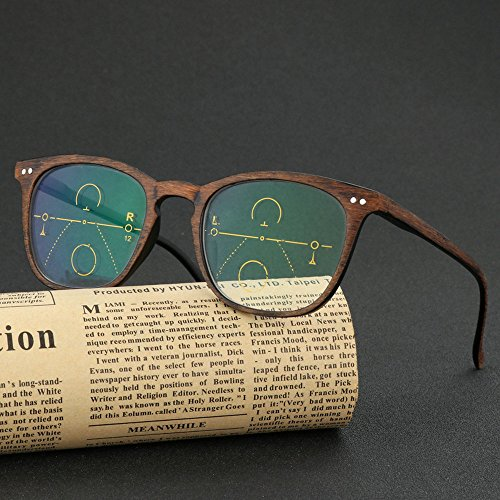 2018 Color Change Gradient Multi-Focus Retro Wooden Ultra Light Unisex Spring Mirror Leg Reading Glasses (Brown, 2.5) ()