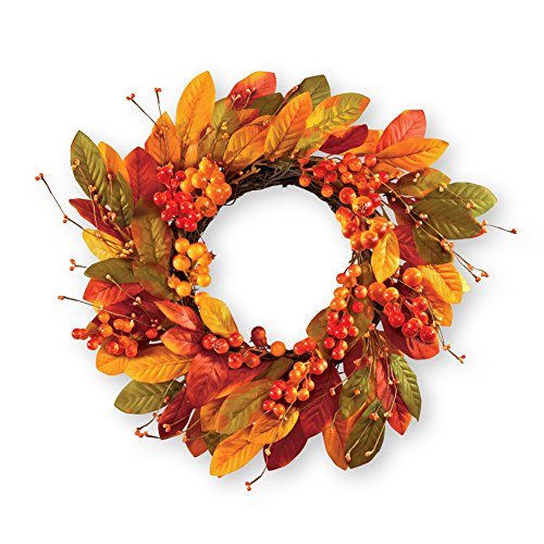 - Collections Etc Leaves & Berries Fall Outdoor Wreath