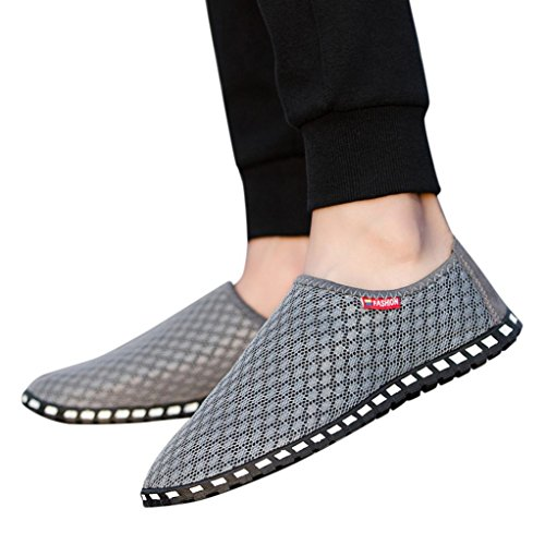 Beach Gray Men Toe Breathable Shoes Out Mesh Driving Flat Comfort Outdoor Hollow B Fashion Round Casual Loafers HLHN 1a6wqp6