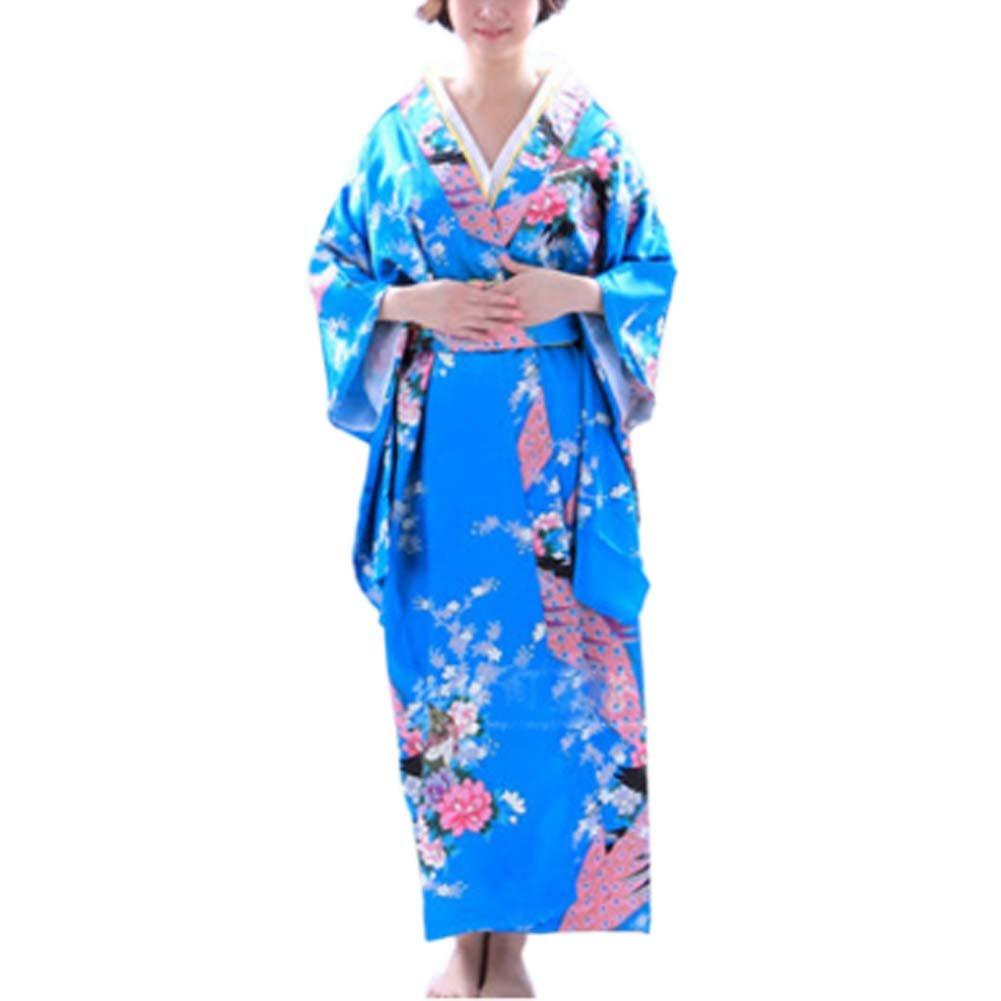 FANCY PUMPKIN Japanese Style Women Kimono Yukata Bathrobe for Cosplay Black Cl0-1693