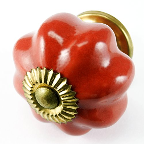 Romantic Decor C119M Retro Red Stoneware Drawer Handles with Brass Hardware - 1-3/4