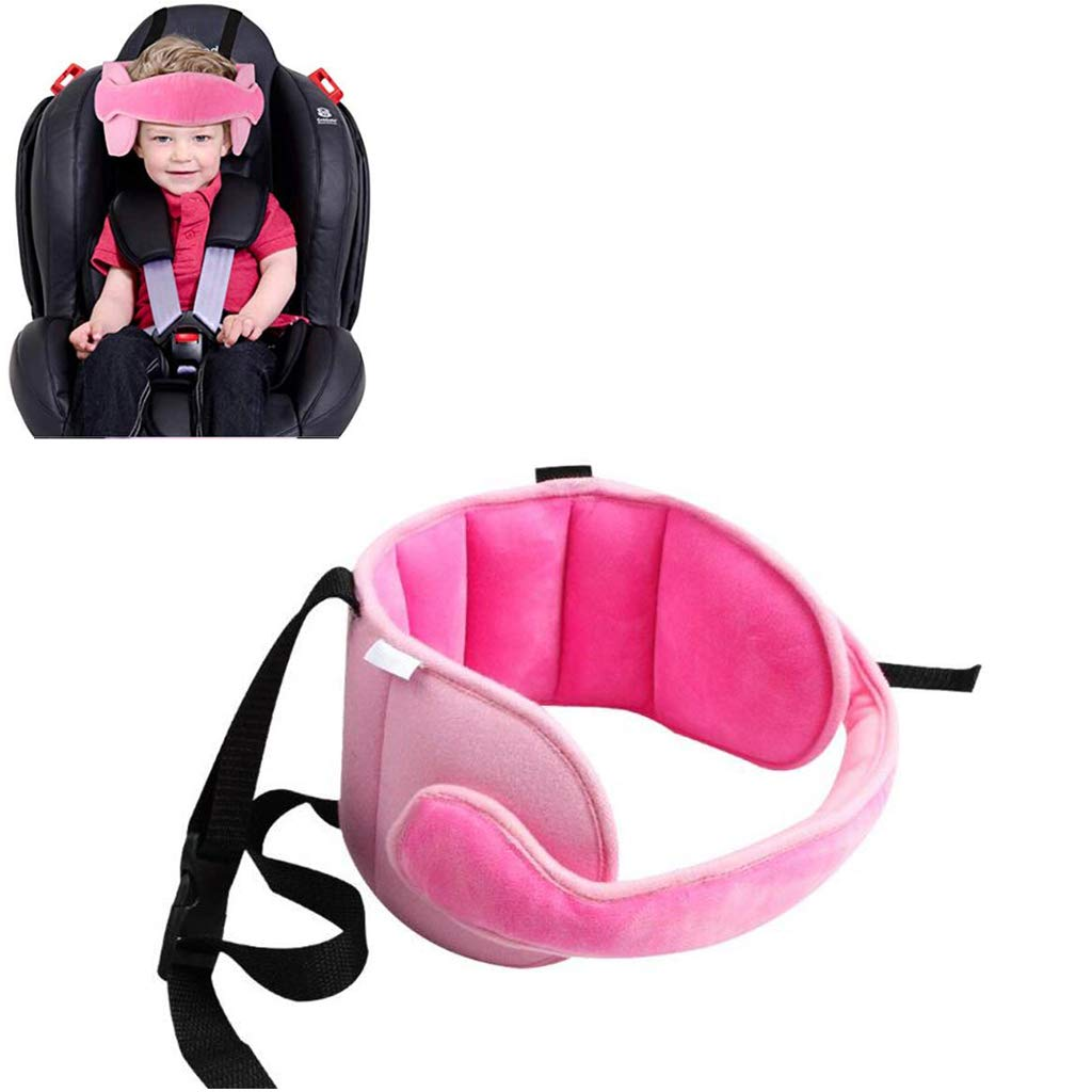 Adjustable Child Car Seat Head Support Band, Head Support A Comfortable Safe Sleep Solution,Pink Head Support Belt Giant Trees