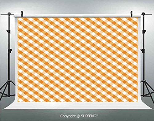 Photography Backdrops Cross Weave Gingham Pattern in Orange and White Old Fashioned Classical Tile Decorative 3D Backdrops for Photography Backdrop Photo Background Studio -